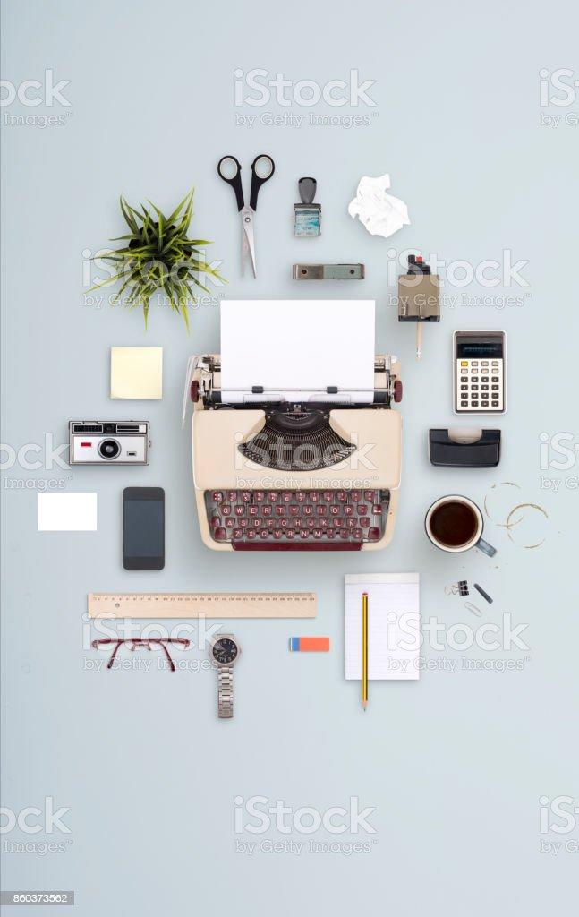 Retro items typewriter cloud stock photo