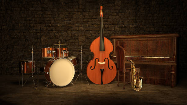 Retro Jazz Musical instruments stock photo