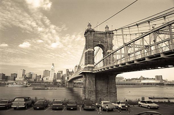 Retro John A. Roebling Suspension Bridge stock photo
