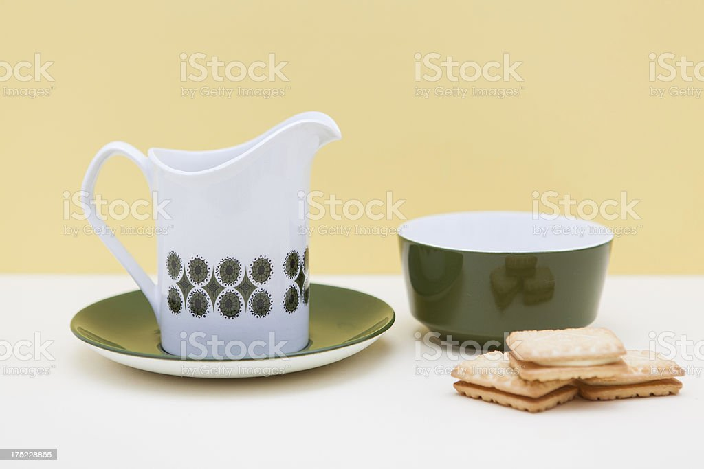 Retro Jug, sugar bowl with biscuits stock photo