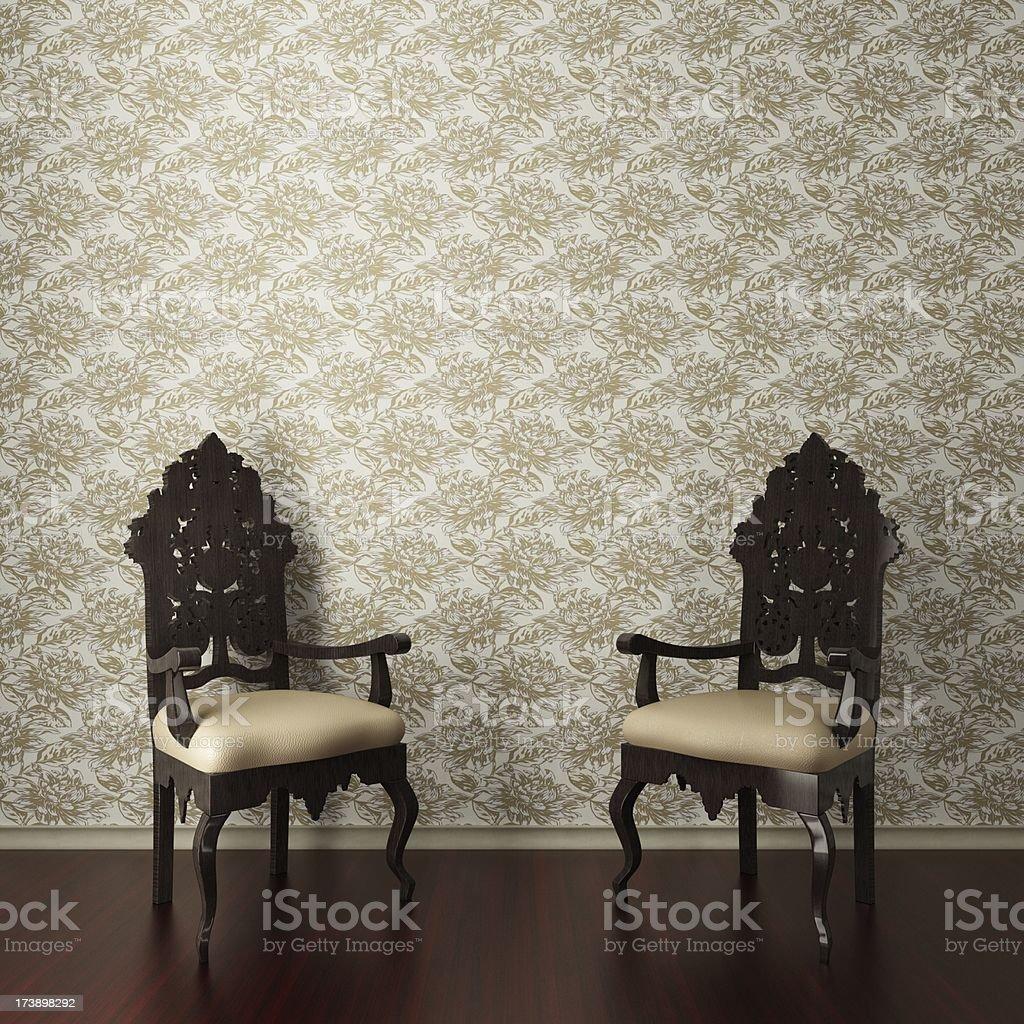 Retro King Armchairs royalty-free stock photo