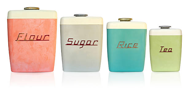 Retro Kitchen Canisters stock photo