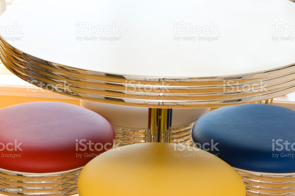 Retro Kitchen Chrome Table Set With Colourful Stools Stock Photo Download Image Now Istock
