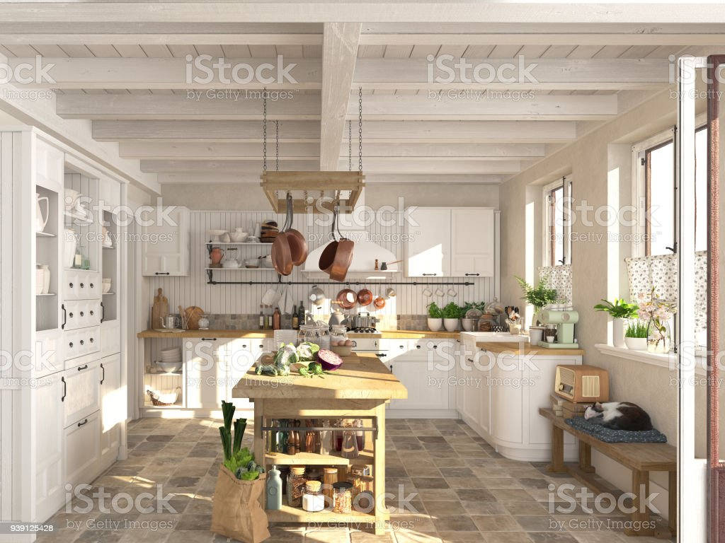 Faszinierend Retro Küche Galerie Von Retro-küche In Einer Hütte Mit Schlafenden Katze.