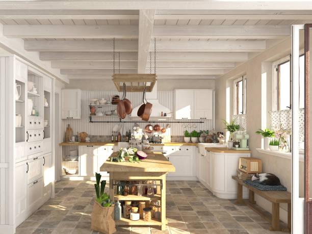 retro-küche in einer hütte mit schlafenden katze. 3d rendering - landhausstil küche stock-fotos und bilder