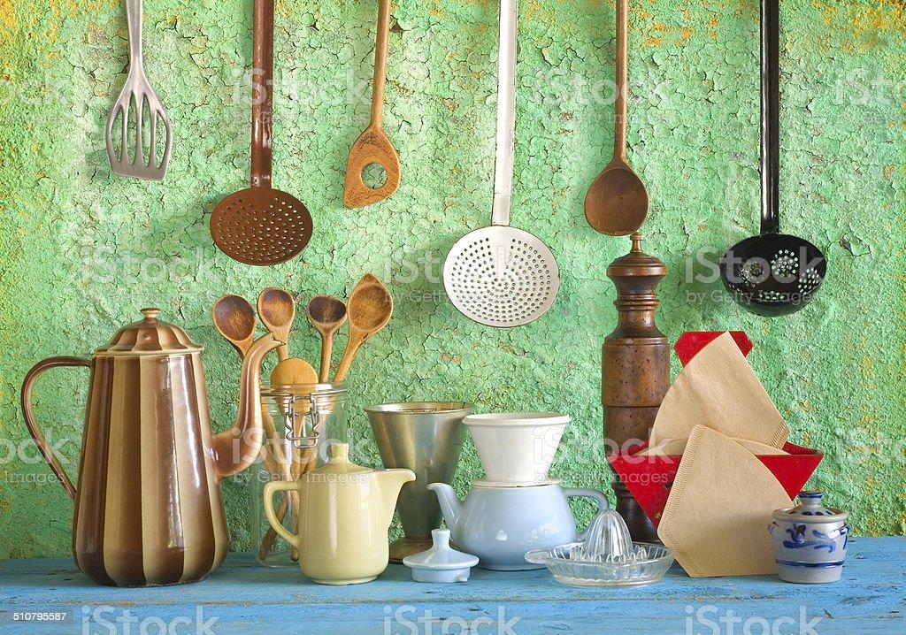 retro kitchen tools stock photo