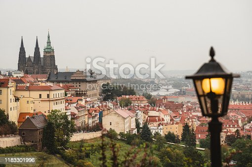 Prague , Czech Republic - October 7 , 2019: Prague Castle is a castle complex in Prague, Czech Republic, built in the 9th century. It is the official office of the President of the Czech Republic. The castle was a seat of power for kings of Bohemia, Holy Roman emperors, and presidents of Czechoslovakia.