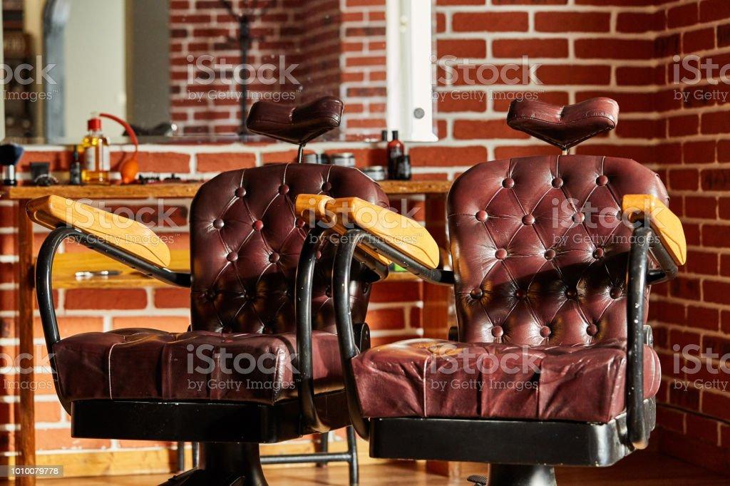 Sensational Retro Leather Chair Barber Shop In Vintage Style Barbershop Dailytribune Chair Design For Home Dailytribuneorg