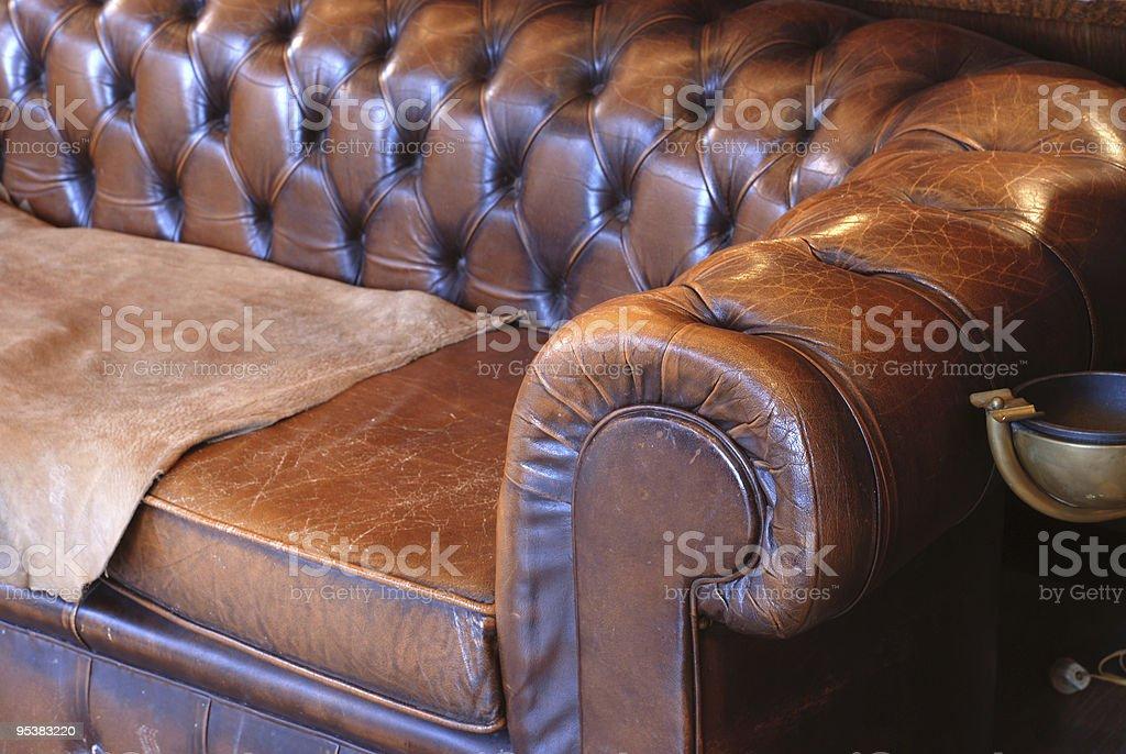 Retro leather sofa stock photo