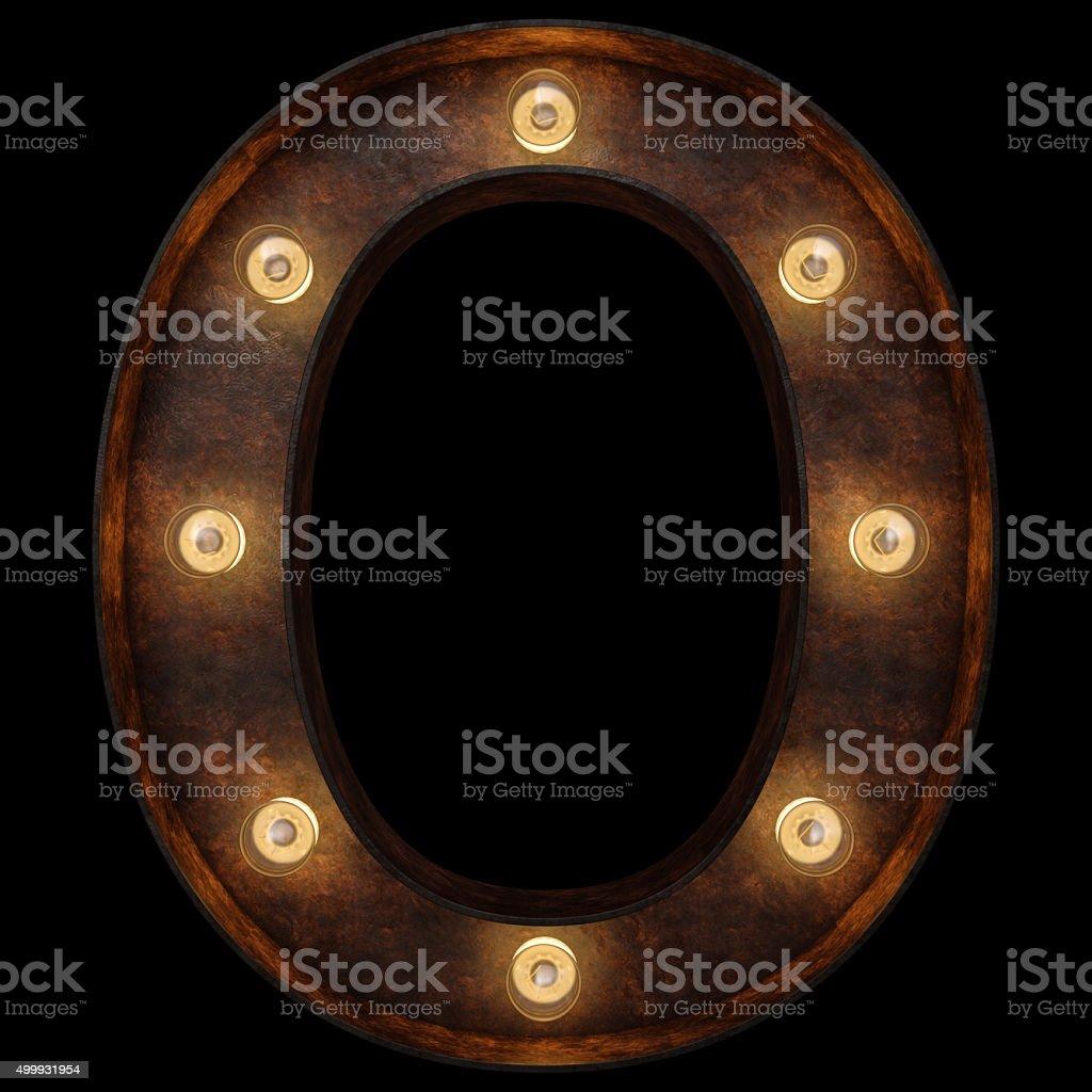 Retro light bulb alphabet. Isolated over black background stock photo