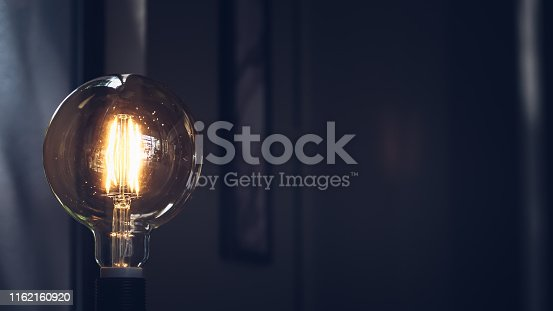 940992564 istock photo Retro light bulb on dark background with space. Lighting decor macro loft style background 1162160920