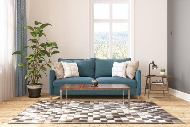 retro living room - coffee table imagens e fotografias de stock