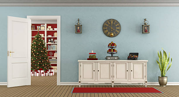 retro living room with christmas decoration - sideboard weiß holz stock-fotos und bilder