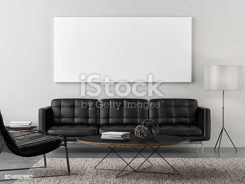 istock Retro living room with mock up poster 824692882