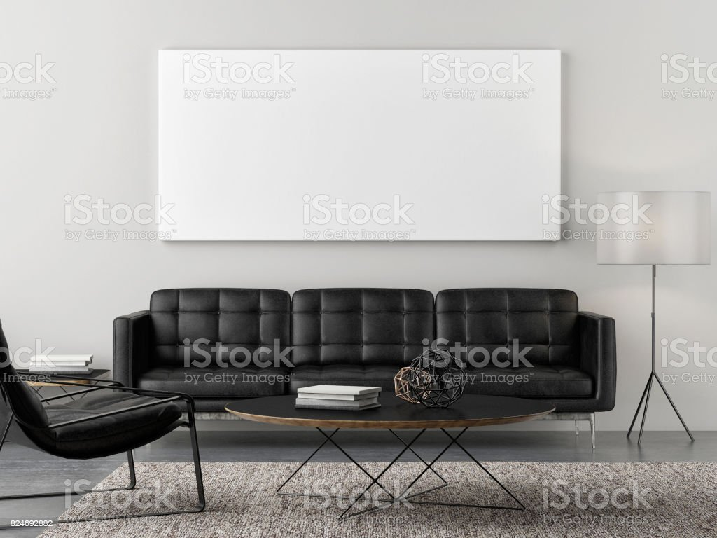 Retro living room with mock up poster stock photo