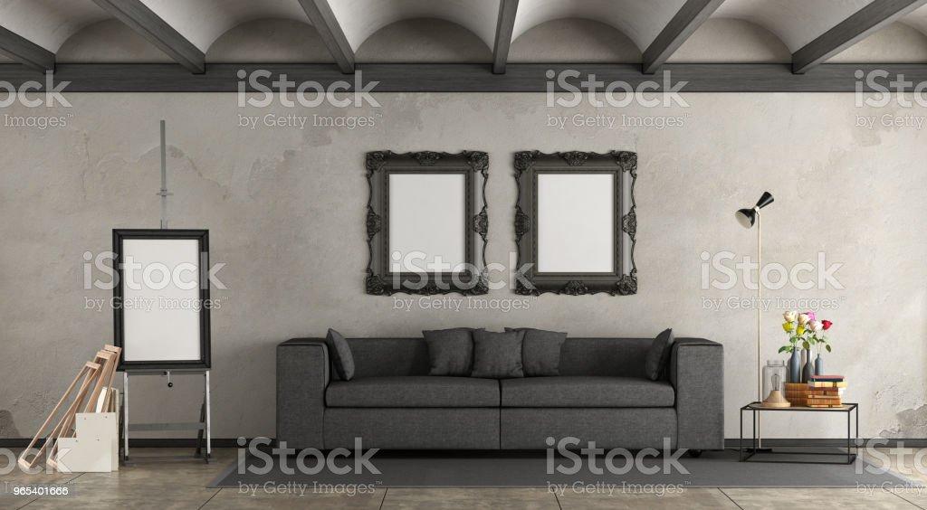 復古客廳帶現代沙發 - 免版稅住宅建築圖庫照片