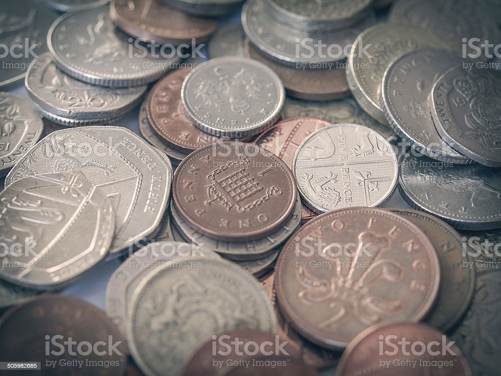 Retro look British pound coin stock photo