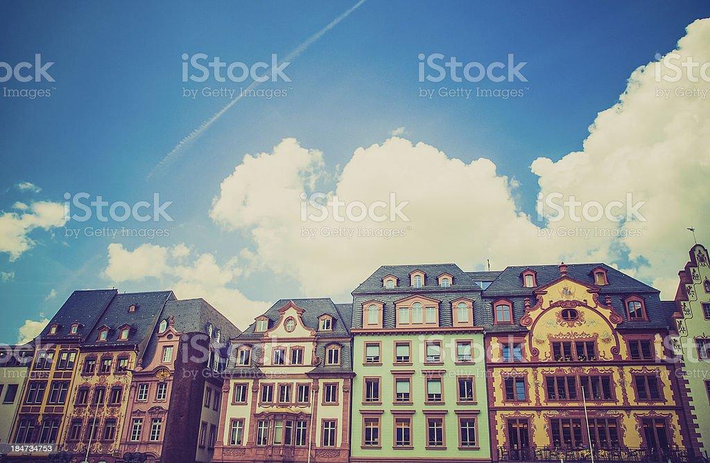 Retro look Mainz Old Town stock photo