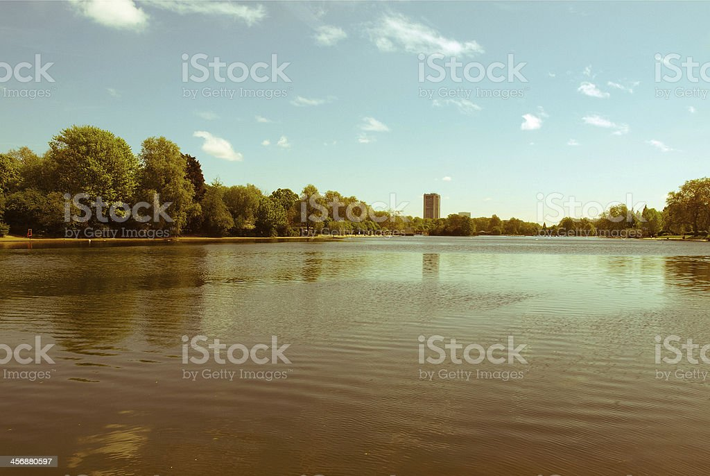 Retro looking Serpentine lake, London stock photo