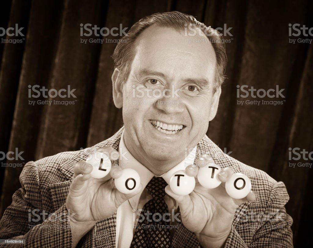Retro Lottery Drawing Host stock photo