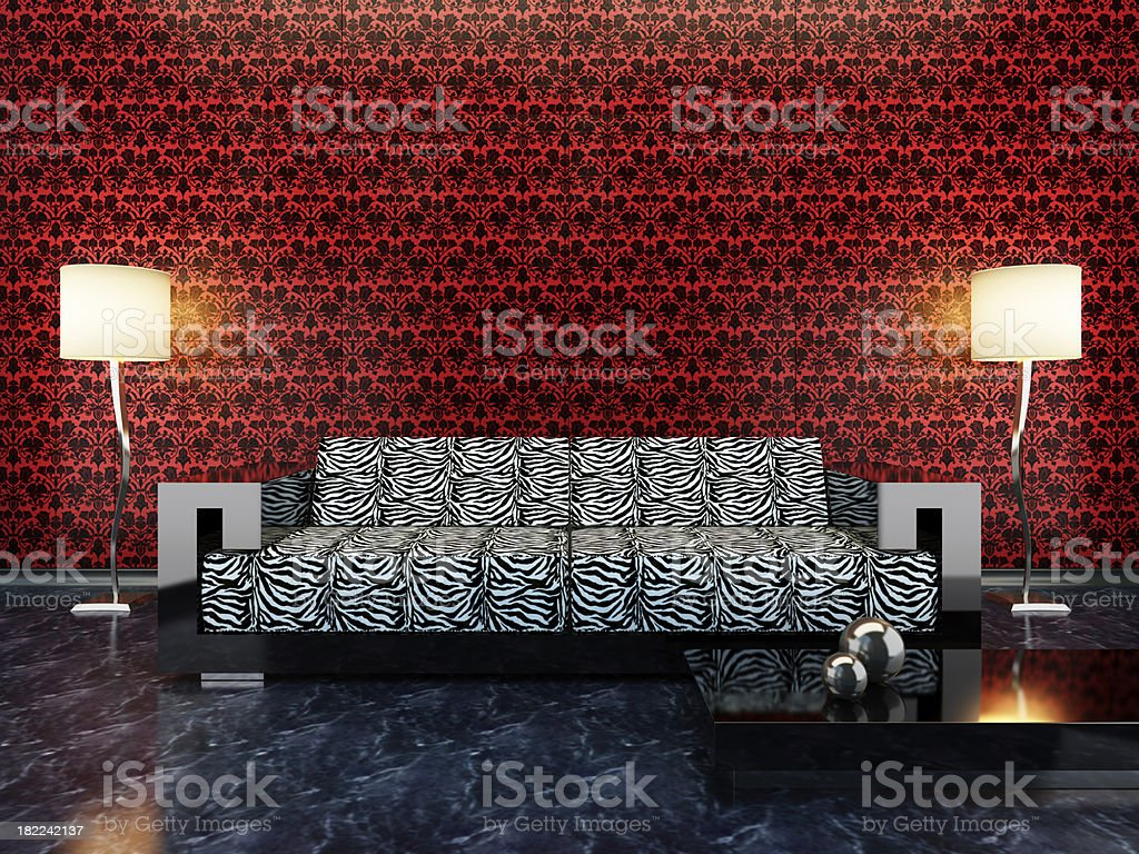Retro Lounge Room (with copy space) royalty-free stock photo
