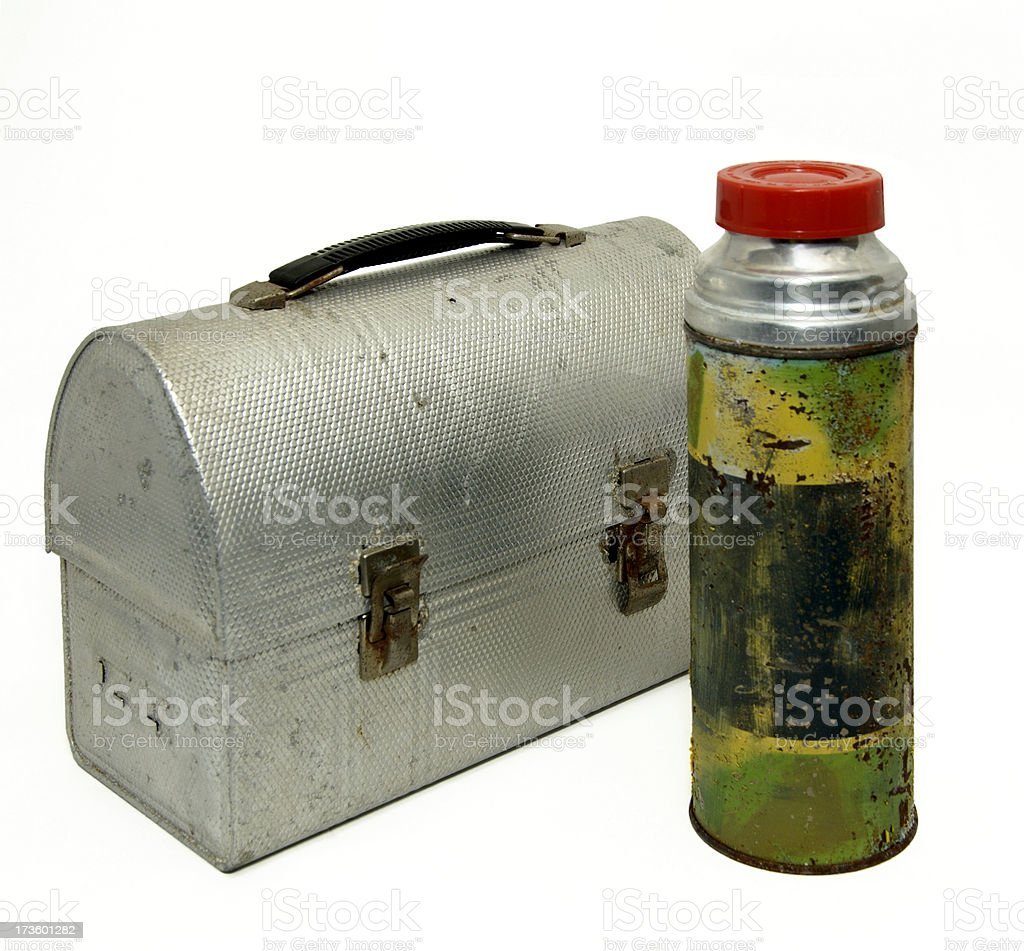 retro lunch pail and thermos royalty-free stock photo