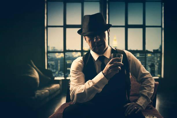 retro mafia gangster stock photo