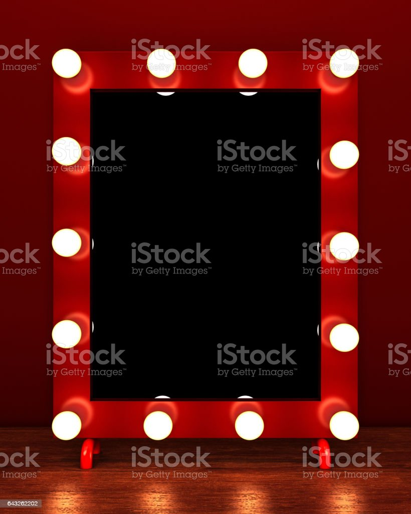 Retro make up mirror on wooden table stock photo