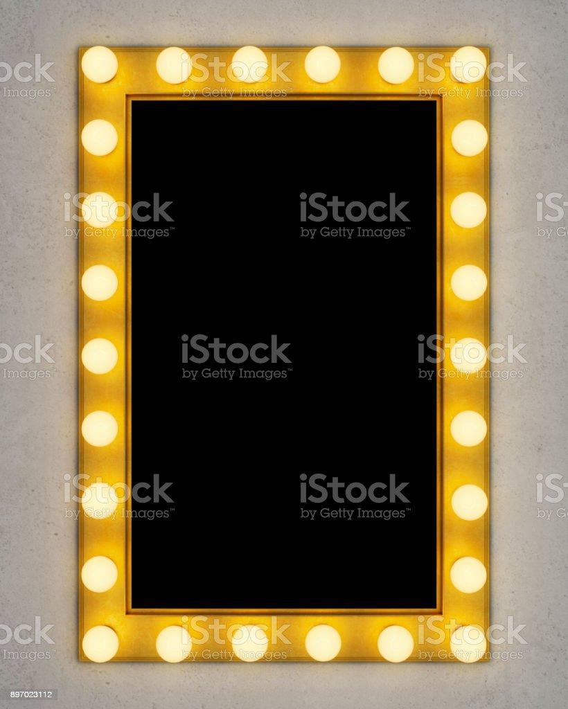 Retro make-up mirror on concrete wall stock photo
