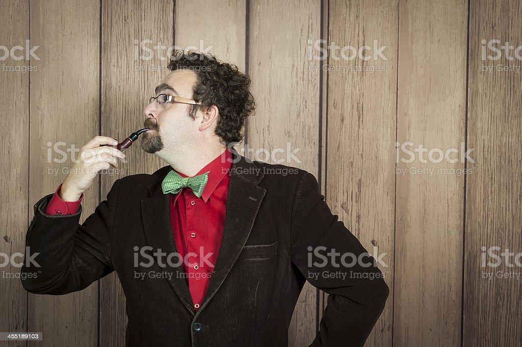 Retro Man smoking stock photo