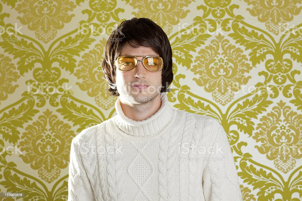 retro man vintage glasses and turtleneck sweater stock photo