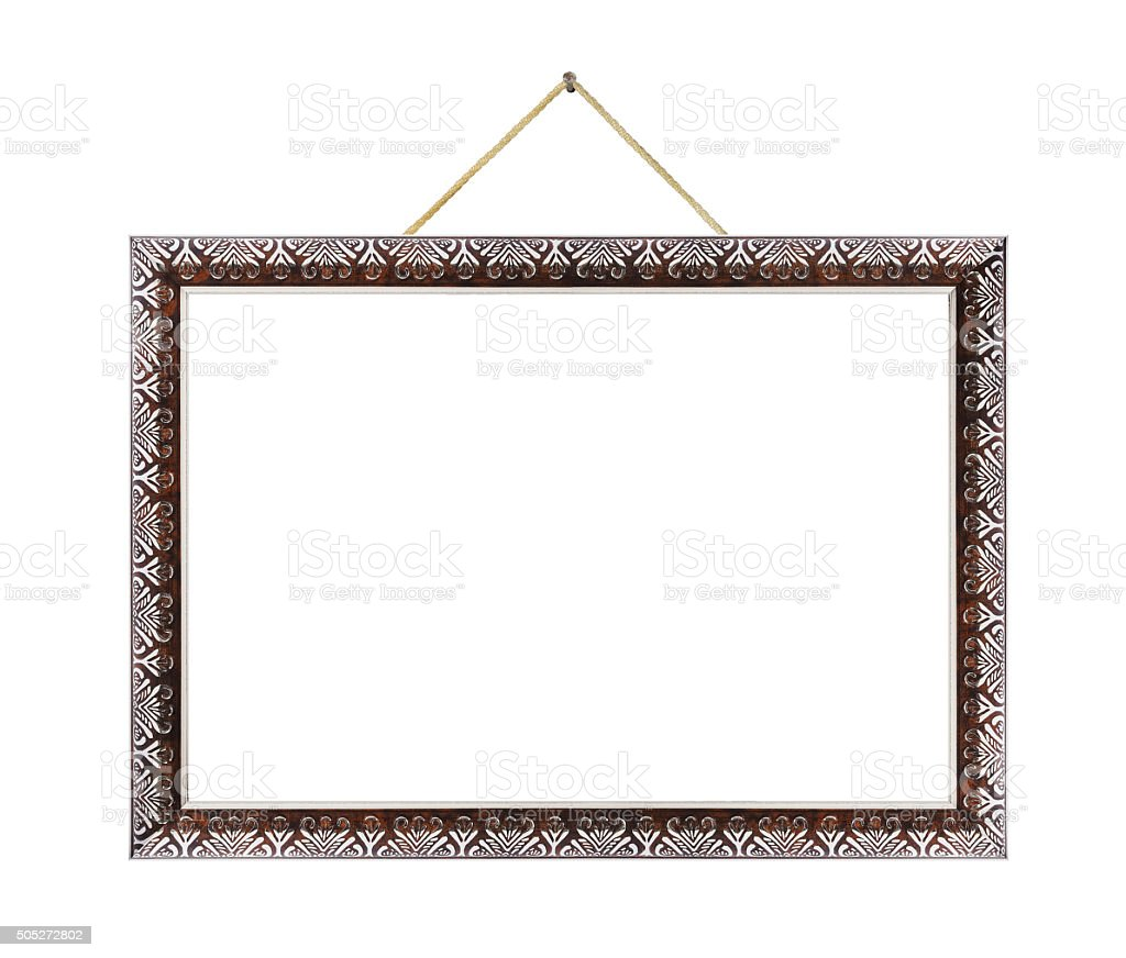 Retro metal frame on rope stock photo