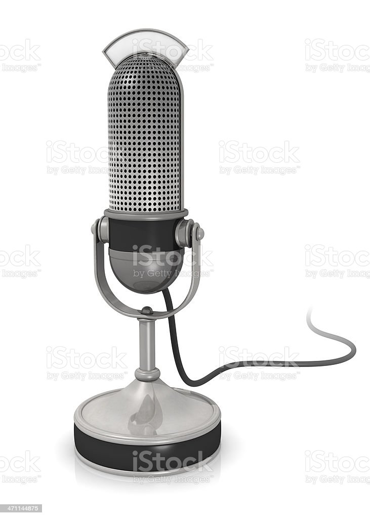 Retro microphone against white background royalty-free stock photo