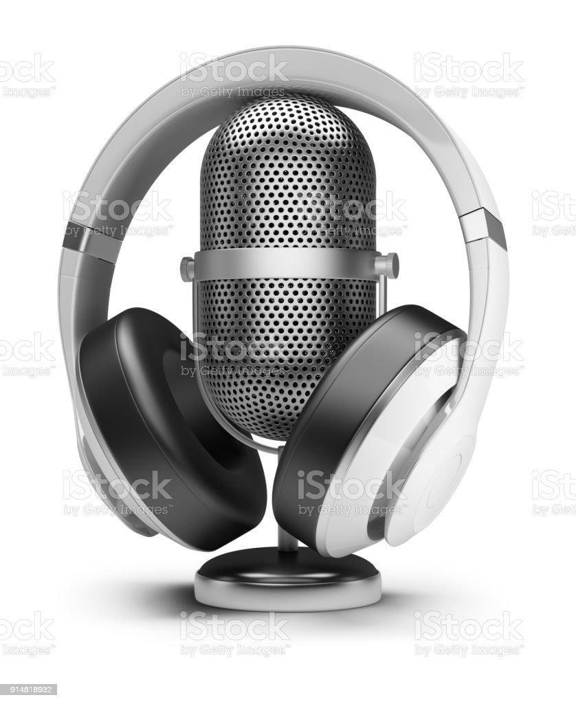 retro microphone and headphones стоковое фото