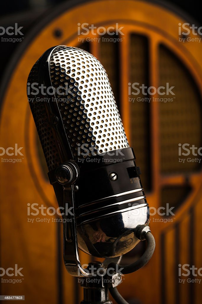 Retro Microphone and Vintage Radio stock photo