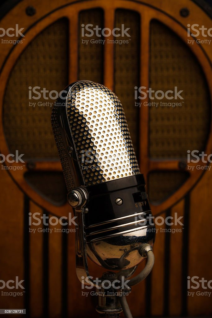 Retro Microphone and Wireless stock photo