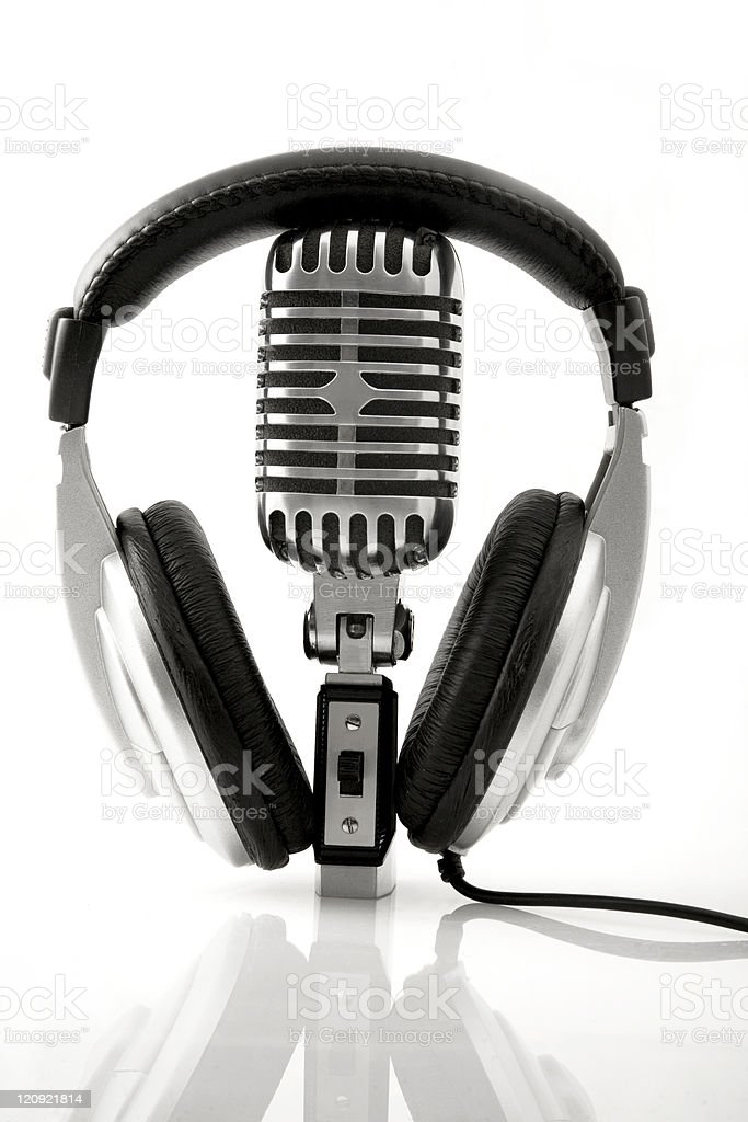 Retro Microphone & DJ Headphones royalty-free stock photo