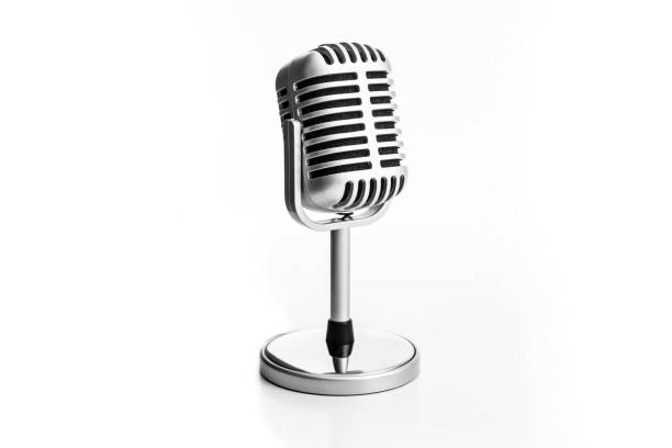 Retro microphone isolated on white background Retro microphone isolated on white background microphone stock pictures, royalty-free photos & images