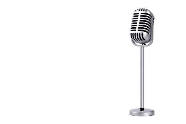 Retro microphone isolated on white background Retro microphone isolated on white background revival stock pictures, royalty-free photos & images
