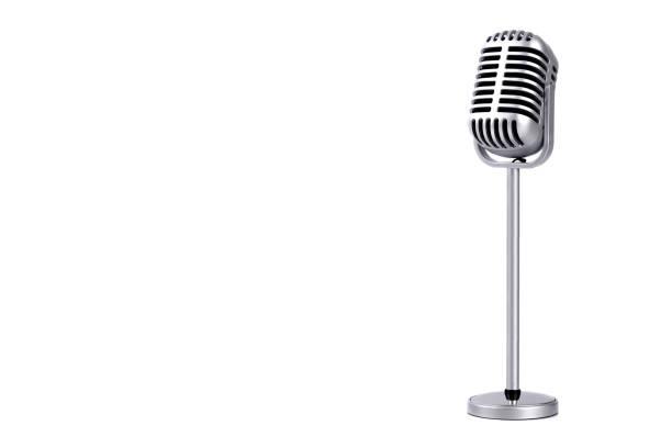 retro microphone isolated on white background - historycyzm zdjęcia i obrazy z banku zdjęć