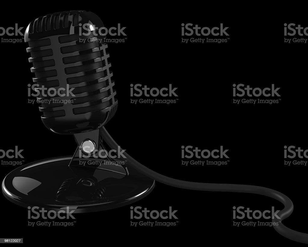Retro Microphone on a Black Background royalty-free stock photo