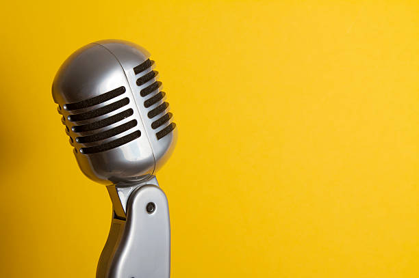 retro microphone - toned image stock photos and pictures