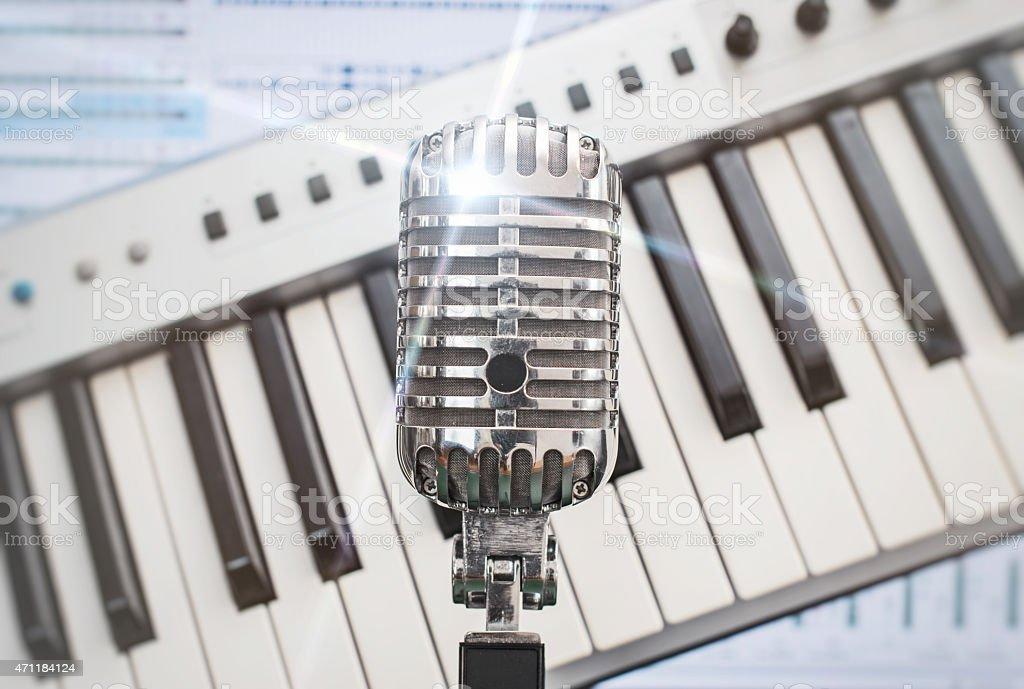 Retro microphone. stock photo