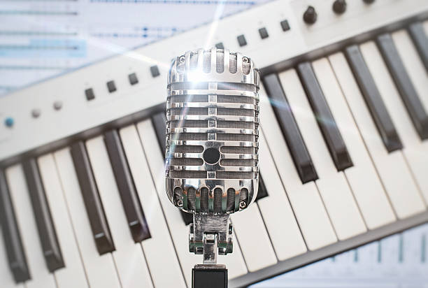 retro microphone. - elvis stock photos and pictures