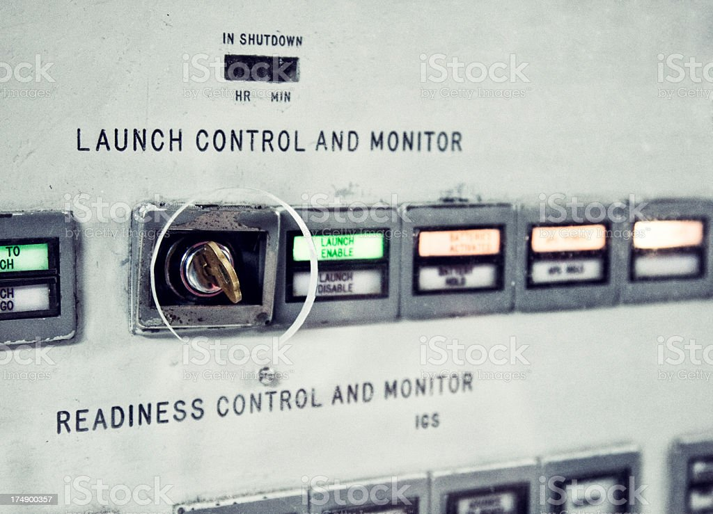 Retro Missile Launch Key stock photo