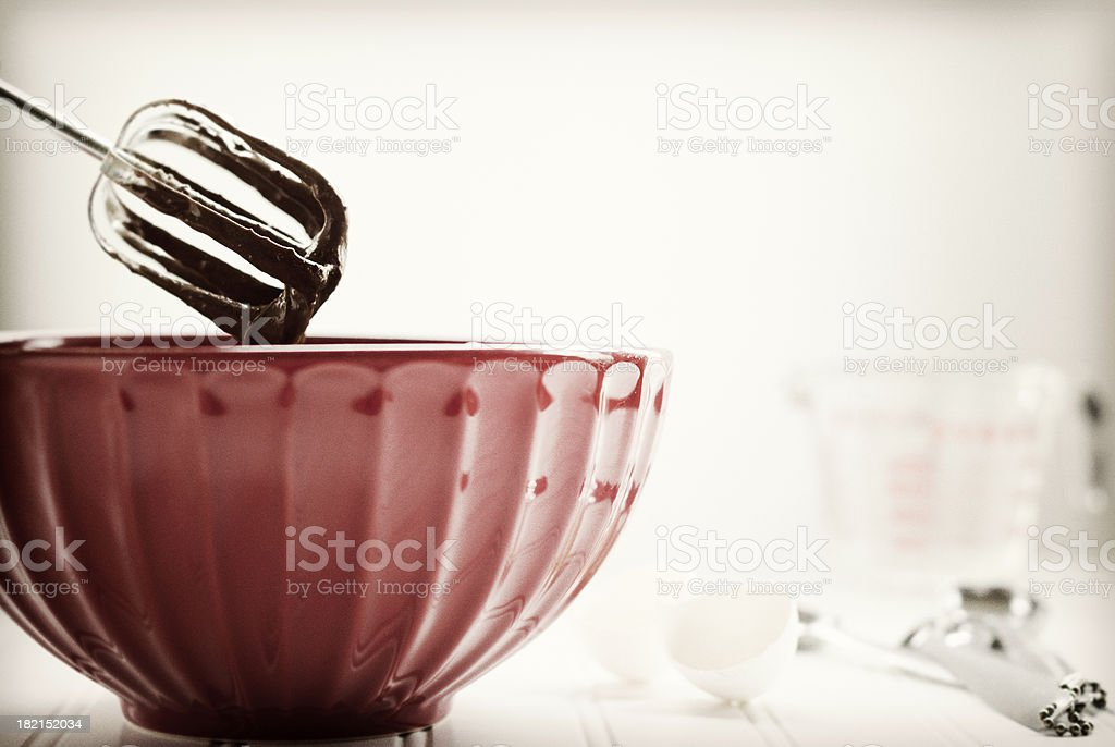Retro Mixing Bowl with Chocolate Batter stock photo