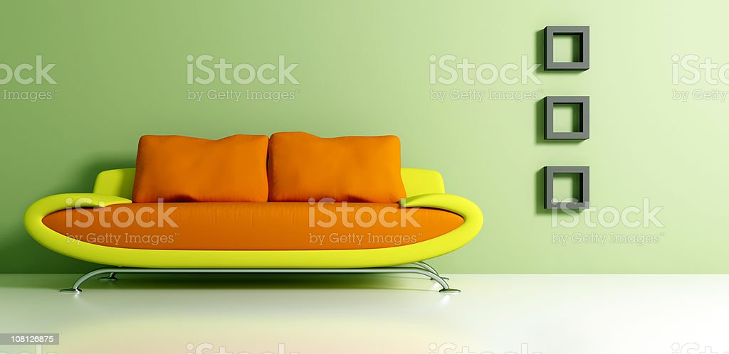 Retro Mod Couch and Interior Decorating royalty-free stock photo