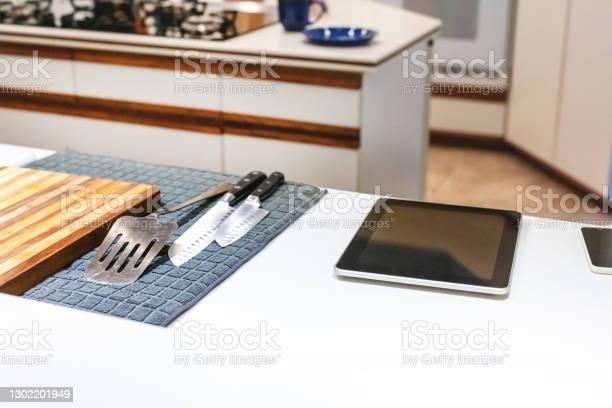 Retro Modern Kitchen Stock Photo - Download Image Now