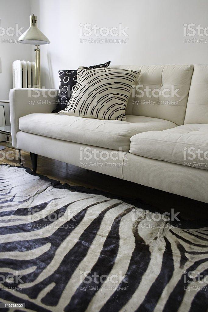 Retro Modern White Interior stock photo