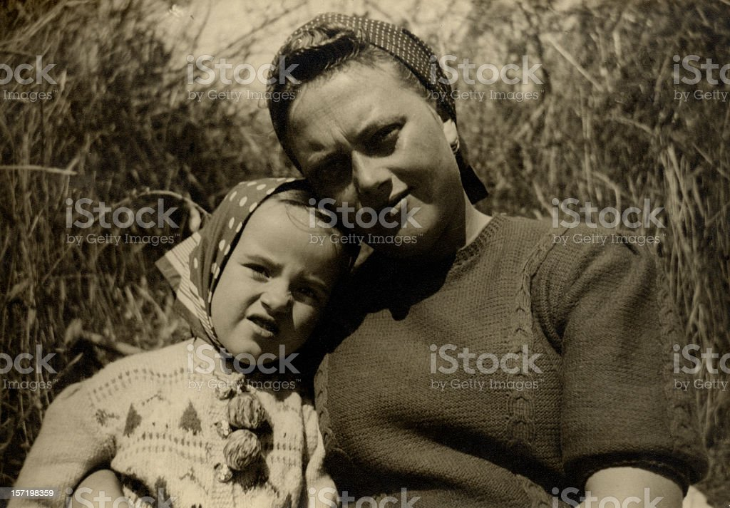 Retro mother and daugther royalty-free stock photo